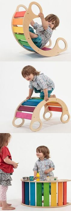 Rainbow Rocker that can be used as a rocker, but in other ways too! Creative play! #rainbowrocker #rocker #creativeplay