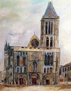The Basilica Of Saint-denis Artwork By Maurice Utrillo Oil Painting & Art Prints On Canvas For Sale Oil Painting On Canvas, Canvas Art Prints, Basilica Of St Denis, Auguste Herbin, Maurice Utrillo, Oil Painting Reproductions, Chapelle, Paris, Art And Architecture
