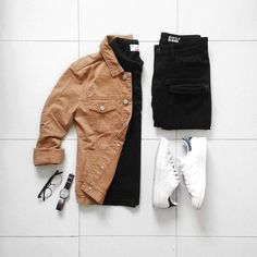 ** Streetwear daily - - - Click this picture to check out our clothing label ** Casual Wear, Casual Outfits, Men Casual, Outfit Grid, My Outfit, Mode Outfits, Fashion Outfits, Minimalist Outfit, Style Masculin