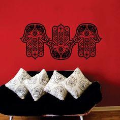 Three Fish Hamsa Hands Wall Stickers Living Room Art Indian Buddha Yoga Fatima Mandala Ganesh Home Decor