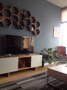 Meredith Heron Design - love the honeycomb boxes on the wall over the tv.