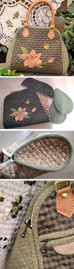 Quilted Bag. How to sewing in the photos. Japanese quilting  http://www.handmadiya.com/2016/01/quilted-bag-japanese-patchwork.html