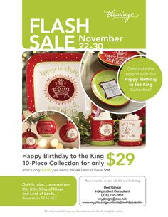 Blessings Unlimited FLASH SALE - Celebrate the Season with the Happy Birthday to the King Collection for only $29! This is for ALL 10 PIECES! www.myblessingsunlimited.net/deerankin. Sale starts November 22 and runs through November 30th!