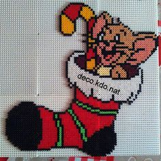 Christmas Jerry hama perler beads by Deco. Hama Beads Design, Diy Perler Beads, Hama Beads Patterns, Beading Patterns, Christmas Cartoon Characters, Christmas Cartoons, 1st Christmas, Christmas Crafts, Christmas Stocking