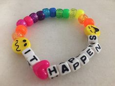 Your place to buy and sell all things handmade Excited to share this item from my shop: Kandi Bracelet, It Happens Kandi Single Diy Kandi Bracelets, Rave Bracelets, Pony Bead Bracelets, Candy Bracelet, Friendship Bracelets With Beads, Festival Bracelets, Rave Candy, Bon Look, Estilo Indie