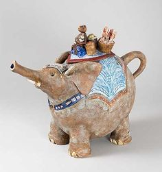 Elephant Teapot  Going to Market, 2005. Hand built in white stoneware, this teapot is fully functional.