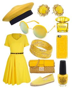 """""""Yellow summer"""" by ingridmv ❤ liked on Polyvore featuring Donna Karan, Michael Kors, Yumi, Beauty & The Beach, Soludos, Kate Spade, Dorothy Perkins, Versace, OPI and Casetify"""