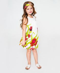Another great find on #zulily! White Rose Pleated Swing Dress & Headband - Toddler & Girls #zulilyfinds