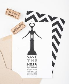 A fun save the date if you are having a vineyard or farm to table reception and can also be reworked for a rehearsal dinner or wine tasting