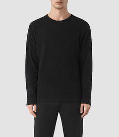 Mens Seymor Long Sleeve Crew T-Shirt (Jet Black) - product_image_alt_text_1