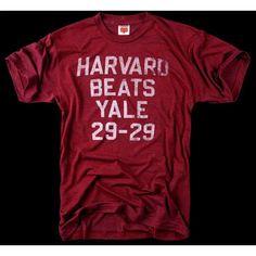 Vintage Harvard Beats Yale 29-29 College Football Game T-Shirt