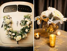 Flower garland on the back of the getaway car after the wedding reception, also love the vintage gold patterned tablecloths with tea lights #MarieeAmi #Weddings #Flowers
