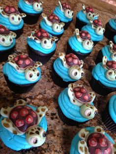 I love these turtle cupcakes! Baking Cupcakes, Cupcake Cookies, Cupcake Recipes, Cupcake Ideas, Kid Cupcakes, Cupcake Wars, Bar Cookies, Mini Tortillas, Sea Turtle Cupcakes