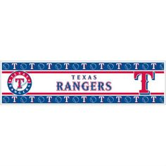 Powerful decorating with Texas Rangers border from http://sportsdecorating.com. Height: 5 in  Length: 15 ft  Repeat: approx 20 in  peel and stick border in bold blue and white of the Texas Rangers makes decorating so easy you'll think it's a crime $28.95