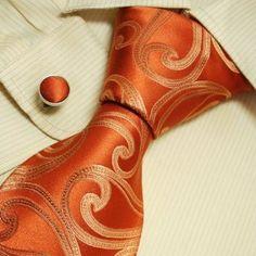 85de2f2ab92f Amazon.com: Burnt Orange Swirl Tie for Men Pattern Birthday Present Man  Handmade Neckties