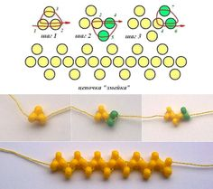 "Victoriya Katamashvili. Snake Chain. Keep clicking on ""next"" to see the netting develop. #Seed #Bead #Tutorials"