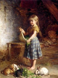 old masters portraits of women and child   Feeding The Rabbits by German artist Heinrich Hirt (1841-1902)