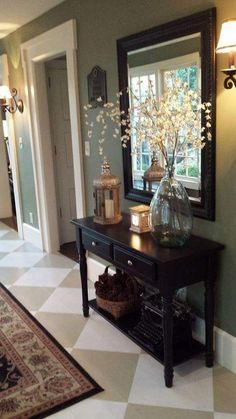 Check this, you can find inspiring Photos Best Entry table ideas. of entry table Decor and Mirror ideas as for Modern, Small, Round, Wedding and Christmas. Hallway Decorating, Entryway Decor, Interior Decorating, Decorating Ideas, Rustic Entryway, Entryway Ideas, Entrance Ideas, Black Entryway Table, Entryway Furniture
