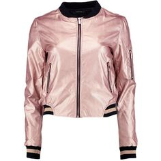 Boohoo Erin Metallic Leather Look Bomber (87 CAD) ❤ liked on Polyvore featuring outerwear, jackets, vegan leather jacket, faux leather bomber jacket, puffy jacket, pink puffer jacket and wrap jacket