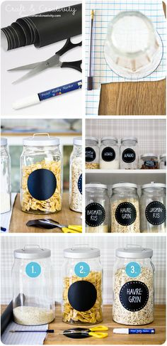 Make labels for your jars with blackboard foil - by Craft  Creativity