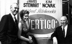 James Stewart, Kim Novak and Alfred Hitchcock at the San Francisco premiere for VERTIGO (1958).