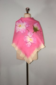Nunofelt, Felted Silk Poncho, Pink wint Flowers Wool Poncho, Floral Poncho, Felted Clothing by Filtil, $250.00