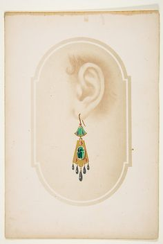 Design for an earring with a green scarab