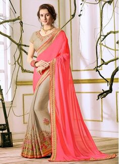 Gorgonize Lace Work Faux Georgette Designer Half N Half Saree Shop online at your ease and pick designer party wear saree of your choice. It is no more an attire, but it now represents Indian culture, Indian fashion, and Indian women. Explore stunning latest designer party wear sarees at Indians Fashion. What are you waiting for! Start browsing through our vast collection and fill up your shopping cart because we are ready to ship!