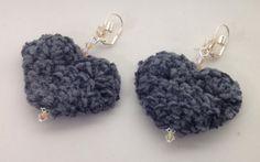 Coton Velours / Longues Boucles d'oreille Coeur en par ByMima, €29.00