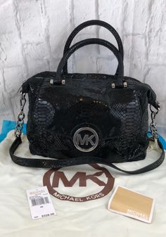 21133e8eed3f Details about Michael Kors Fulton Black Genuine Leather Pythonembossed  Satchel With Dust Bag. eBay