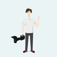 Character design. Camara man illustration. https://www.facebook.com/jamesfilmsweddings/ By Hey Lex www.pinterest.com...