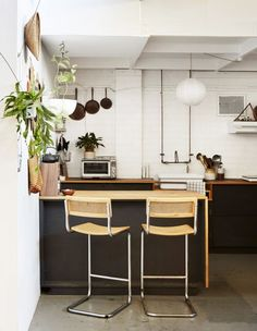 Inside the Melbourne warehouse home of Leah Hudson-Smith and Wally Maloney, Deigned + Built BY. Industrial Kitchen Design, Contemporary Kitchen Design, Boho Kitchen, Kitchen Decor, Kitchen Ideas, Loft, Small American Kitchens, Warehouse Home, Warehouse Apartment
