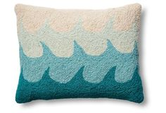 Waves 14x18 Wool Pillow, Blue