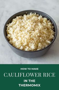 Cauliflower Rice in the Thermomix is a quick and easy alternative to starchy rice and perfect if you're on a low carb diet. This Thermomix Cauliflower Rice is quick and easy to prepare and a wondeful grain free alternative for many dishes. Cauliflower Rice Thermomix, Cheesy Cauliflower Soup, Cauliflower Couscous, Vegan Cauliflower, Cauliflower Recipes, Rice Recipes, Keto Recipes, Recipes Dinner, Kitchens