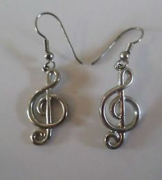 Vintage 1980s Silver Tone Metal Clef Note Music Earrings, Dangle, Pierced Ears. $4.99