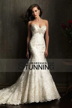 2014 Sweetheart Wedding Dress Trumpet Court Train Beaded Embellished With Applique