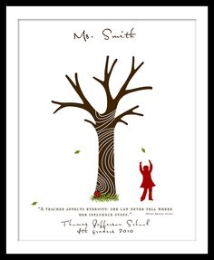 Teachers Appreciation Gift Signature Fingerprint Tree Gift (you add your fingerprints on the tree branches)