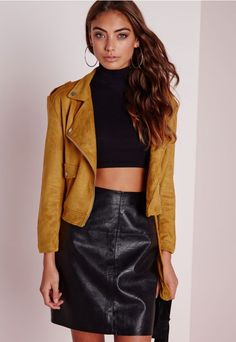 Our love for luxe looking fabrics has reached new levels this season and this faux suede biker jacket is ticking all our boxes! In a 70's retro mustard faux suede, this soft touch biker jacket is the ultimate transitional piece. With expose...