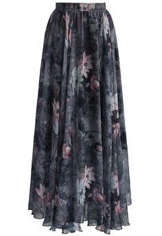 Dancing Watercolor Floral Maxi Skirt in Smoke