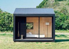 Muji Hut, a tiny prefab timber cabin for a minimalist living Prefab Cabins, Prefab Homes, Tiny Homes, Prefab Cottages, Eco Homes, Tiny Cabins, Tiny House Cabin, Tiny House Design, Cabin Design