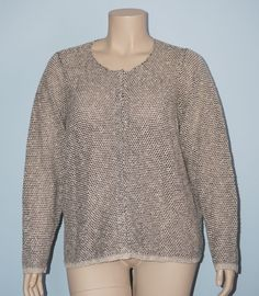 Eileen Fisher 3x Tan & Black Marled Open Weave Snap Button Front Cardigan Top #EileenFisher #Cardigan