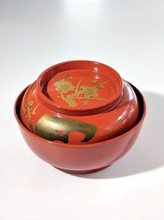 Antique Japanese Red Lacquerware bowl in red with gold plum blossoms from Zenbu Home Japanese Things, Blossoms, Plum, Decorative Bowls, Objects, Antiques, Red, Handmade, Stuff To Buy