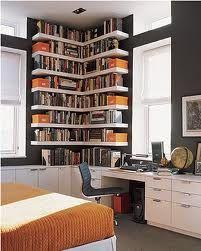 Biblioteca de canto com escrivaninha