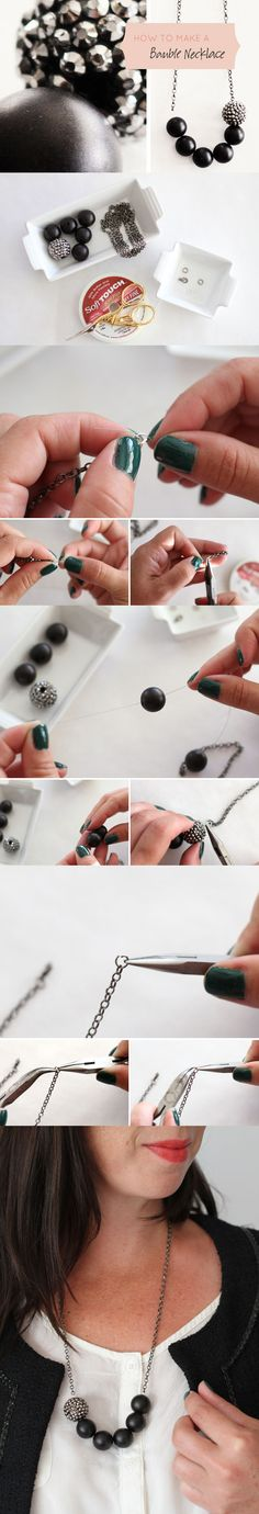 How to make a bauble necklace diy crafts craft ideas easy crafts diy ideas crafty easy diy diy jewelry craft necklace diy necklace jewelry diy diy necklace tutorial Diy Necklace, Necklace Tutorial, Necklace Ideas, Diy Crafts Jewelry, Handmade Jewelry, Diy Fashion, Fashion Jewelry, Ideas Joyería