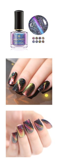 😍New released BORN PRETTY Holographic Cat Eye Nail Polish shared here, 8 colors for optional Pretty Gel Nails, Born Pretty Nail Polish, Fancy Nails, Black Nail Designs, Nail Polish Designs, Nurse Nails, Cat Eye Nails Polish, Magnetic Nail Polish, Chameleon Nails