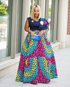 Top African Print Clothing Styles this week. From fabulous African accessories, African dresses, Ankara maxi skirts and African print coats African Print Skirt, African Print Clothing, African Print Dresses, African Prints, African Inspired Fashion, African Print Fashion, Africa Fashion, Long African Dresses, African Fashion Dresses