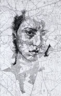 Portraits by Ed Fairburn using vintage maps. This one is from WW1.