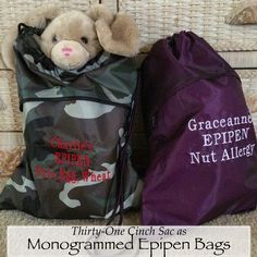 Monogrammed epipen bags are practical for allergy-friendly families!