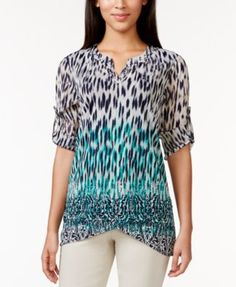 Style & Co. Embellished Printed Tulip Hem Blouse, Only at Macy's