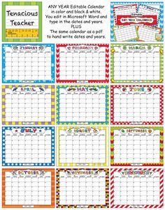 free school year calendar from light bulbs and laughter click to
